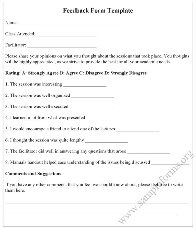 FEEDBACK FORM for a Learning Session- TEMPLATE